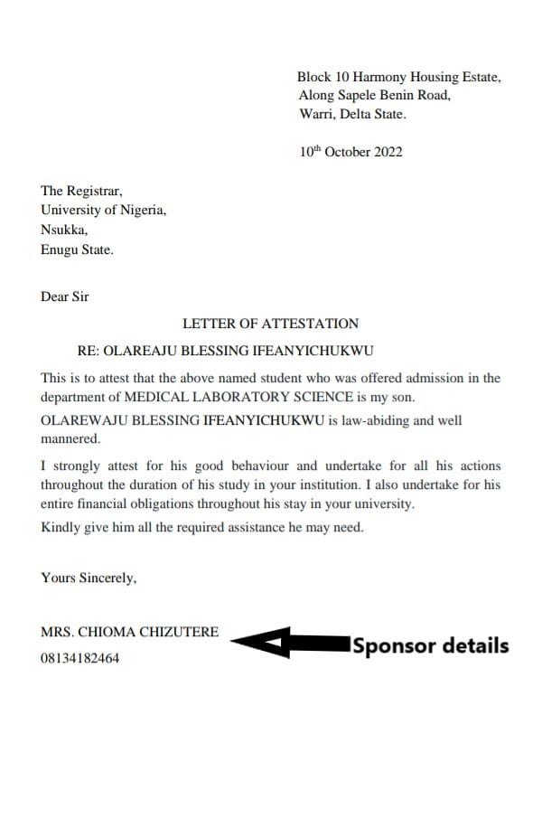 UNN letter of attestation