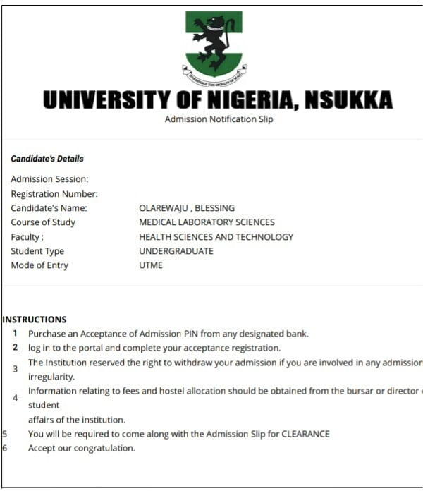 UNN admission notification slip