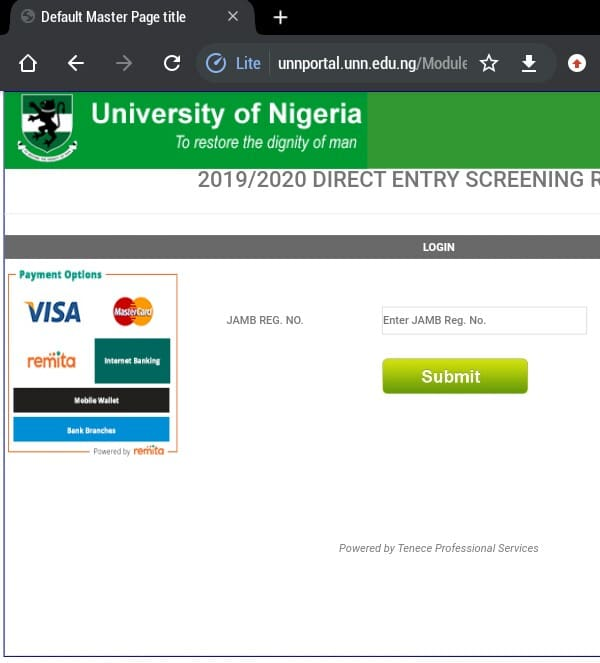 how to check UNN direct entry result