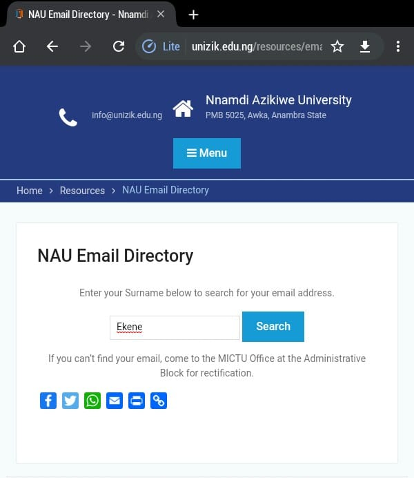 unizik email address