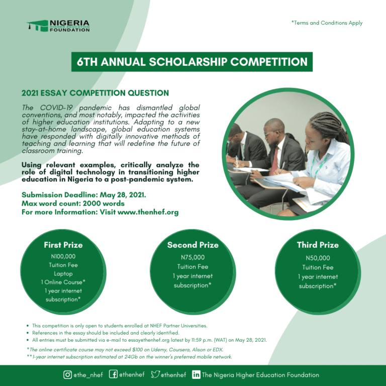 NHEF Annual Scholarship Essay Competition Form