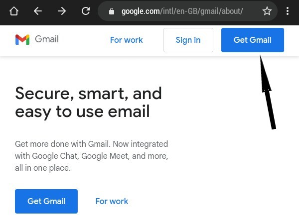 click on get mail to create Gmail